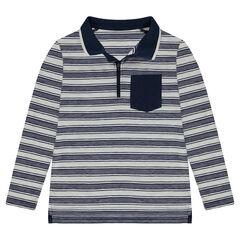 Júnior - Polo de manga larga de rayas all over con bolsillo y cuello con cremallera