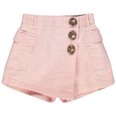 Jupe short rose pâle à poches et boutons