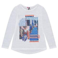 Camiseta de punto slub de manga larga con paisaje estampado