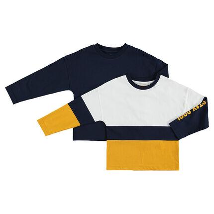 Júnior - Juego de 2 camisetas de manga larga lisa/con franjas en contraste