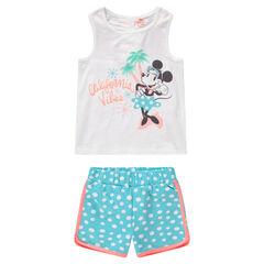 Conjunto de camiseta sin mangas con estampado Minnie ©Disney y pantalón de lunares