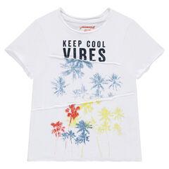 Camiseta de manga corta de punto slub con estampado de palmeras