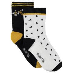 Juego de 2 pares de calcetines variados all over/lisos con estampado