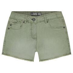 Júnior - Pantalón corto de tela efecto teñido y gastado