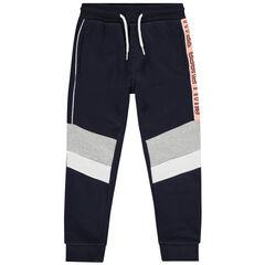 Pantalón de chándal de felpa con bandas en contraste