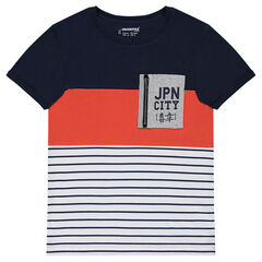 Júnior - Camiseta de manga corta con bolsillo con cremallera y rayas