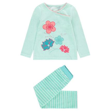 Pijama de terciopelo con flores bordadas y rayas