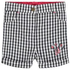 Pantalón corto de vichy con estampado Minnie Disney