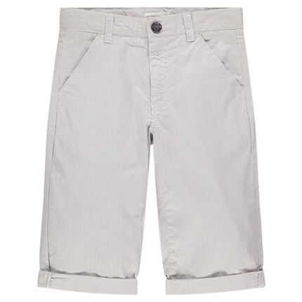 Júnior - Bermudas de algodón de finas rayas all over
