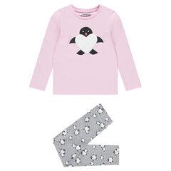Pijama de punto con pinguino y corazón de borreguillo