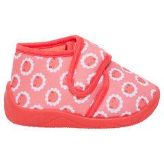 Zapatillas tipo botines con velcro y estampado de flores