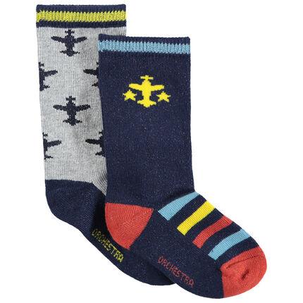 Juego de 2 pares de calcetines con aviones de jacquard