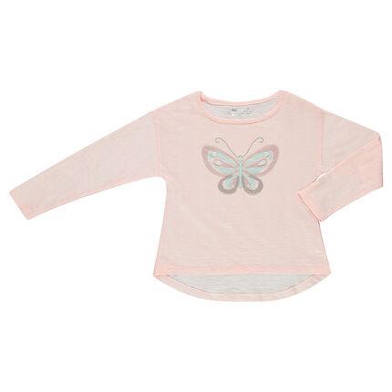 Camiseta de manga corta de punto slub con mariposa de redecilla