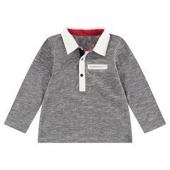 Polo de manga larga gris jaspeado con cuello blanco con botones