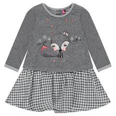 Vestido efecto 2 en 1 con parte de arriba estampada y falda con volante de vichy