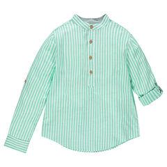 Júnior - Camisa de manga larga de rayas verticlaes y cuello tipo mao