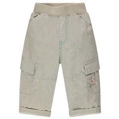 Pantalón liso multibolsillos