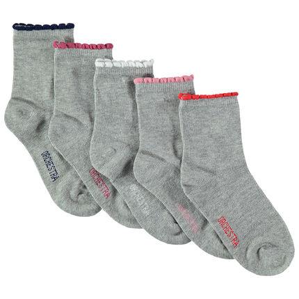 Juego de 5 pares de calcetines con borde acanalado que contrasta con festones