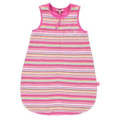 Saquito para dormir de rizo con forro de tejido de punto con rayas del nacimiento hasta los 6 meses