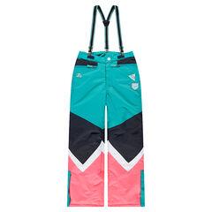 Júnior - Pantalón de esquí que contrasta con tirantes elásticos extraíbles