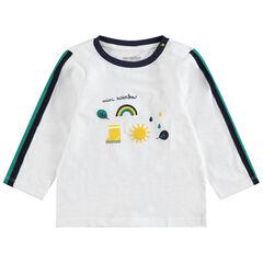 Camiseta de manga larga de punto con estampados de fantasía y bandas que contrastan