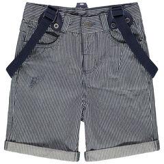 pantalon corto de rayas verticales all-over y tirantes ajustables