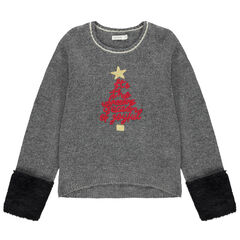Júnior - Jersey de punto jaspeado con estilo navideño y borreguillo en las mangas
