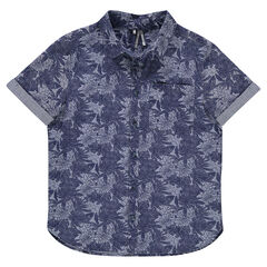 Júnior - Camisa de manga corta con estampado vegetal all-over
