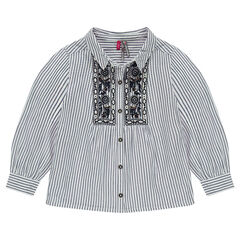 Camisa de manga larga con rayas finas y aplicaciones bordadas