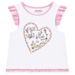 Camiseta de punto con volantes en las mangas y corazón estampado