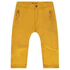Pantalón de sarga ceñido con forro de punto y bolsillos con cremallera