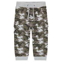 Pantalón de chándal de felpa con estampado militar all-over