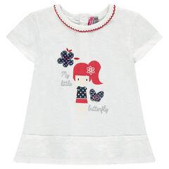 Camiseta larga de manga corta con estampado de muñeca