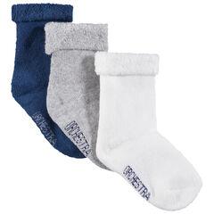 Juego de 3 pares de calcetines lisos con cuello de rizo vuelto