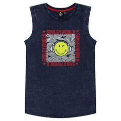 Júnior - Camiseta de punto efecto nueve con estampado ©Smiley