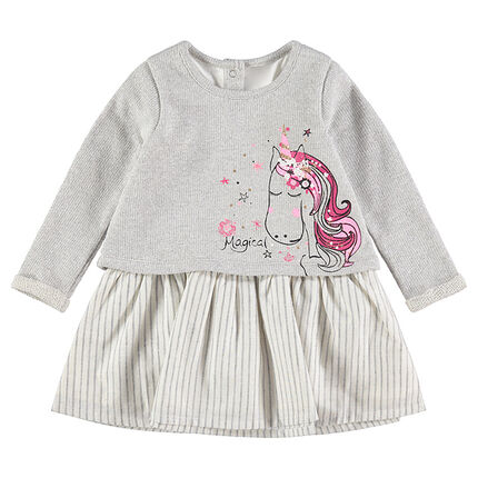 Vestido de manga larga con efecto 2 en 1 de punto con estampado de unicornio