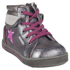 Botas bajas con cordones de color gris con cremallera con aplicación con estrella