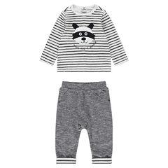 Conjunto de camiseta de rayas y pantalón de punto asargado