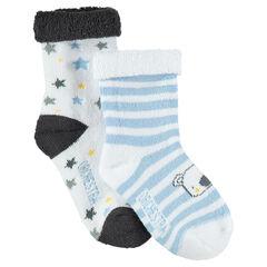 Juego de 2 pares de calcetines variados con koala y estrellas de jacquard