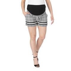 Pantalón corto de premamá de cuadrod y bandas que contrastan