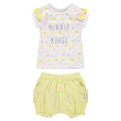 Conjunto con camiseta y estampado de Minnie ©Disney con pantalón corto de rayas