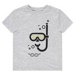 Camiseta de manga corta con máscara y tubo estampados