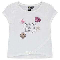 Camiseta de manga corta con mensaje estampado y ©Smiley de lentejuelas