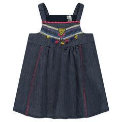 Vestido de algodón de fantasía con bordados y pompones de colores