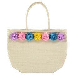 Bolso de mano de paja con pompones de colores