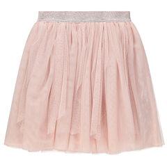 Falda rosa de tul con cintura plateada