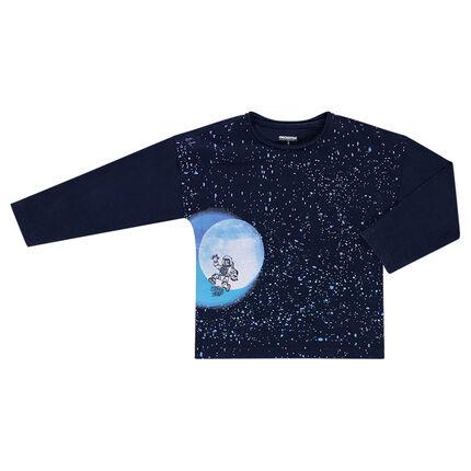 Camiseta de manga larga de forma cuadrada con estampado de galaxia
