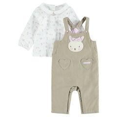 Conjunto de peto de pana con camiseta estampada con conejos