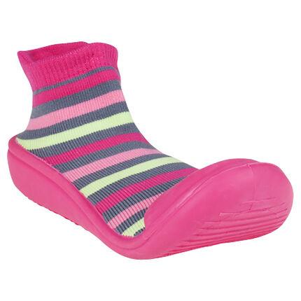 Zapatillas con rayas suela de goma