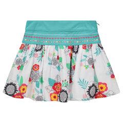 Falda coin volantes y estampado floral con bordados de colores